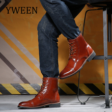 YWEEN Plus Size Men Leather Boots brogue Style Autumn and winter Classic Men Boots British Chelsea boots