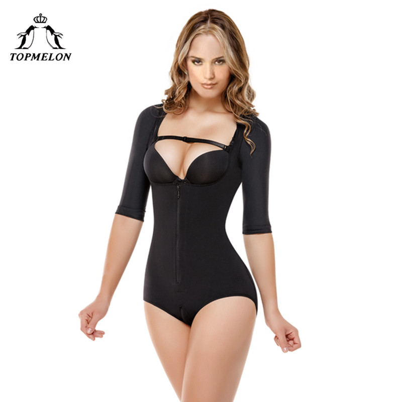 TOPMELON Women Sexy Body Shaper Butt Lifter Plunge U Underwear Slimming Push Up Bodysuits Black Zipper Waist Trainer Shapewear