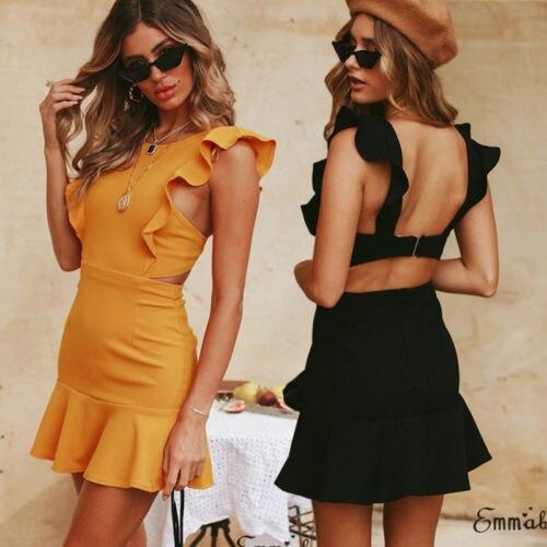 Женское платье модное с оборками без рукавов пикатные с открытой спиной выдалбливают мини платье Летнее однотонное тонкое элегантное платье для женщин 2019 Горячее предложение