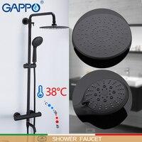 GAPPO черная Ванна Термостат крана смесительная ванна кран Водопад Ванная комната смеситель для душа латунь бортике осадков смесителя