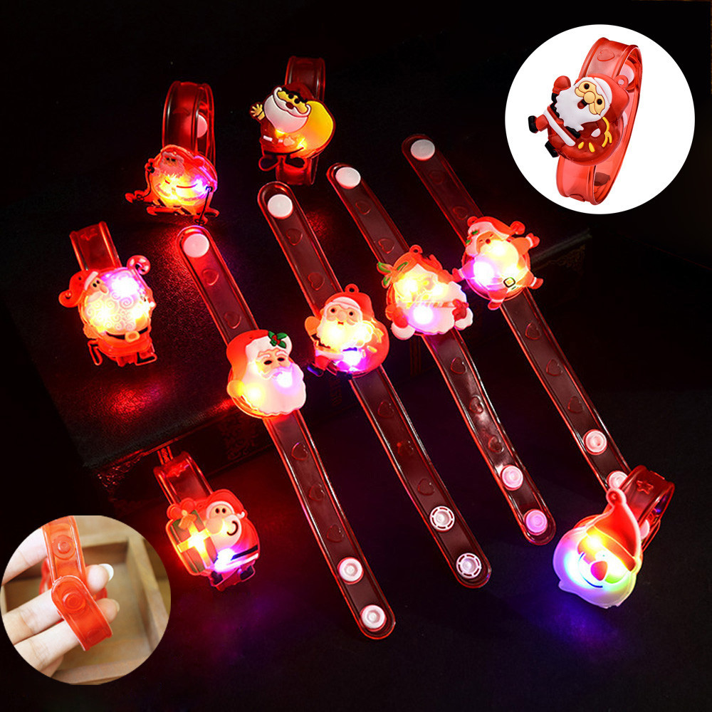 1pcs Christmas Santa Claus Light Flash Toys Wrist Hand Take Dance Party Dinner Party Kids Novelty Funny Gift Toys Drop Shipping