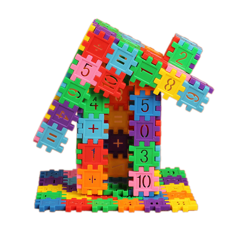 80Pcs/Set Plastic Building Blocks with Number Pattern Dual Kids Educational Math Learning Toy Colorful Gear Blocks Toy gigo science toys 1603 colorful animal pattern work cards model building kits teaching aid math balance for kids arithmetic