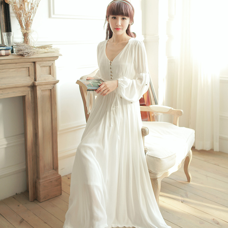 Dress V Neck High Waist Vintage Sleepwear Royal Princess