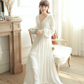 Dress V-neck High Waist Vintage Sleepwear Royal Princess Nightgown White one-piece Nightdress Ankle-Length Beading Full Vestidos
