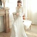 Vestido Con Cuello En V ropa de Dormir Camisón de La Princesa Real Blanco de Alta Cintura de La Vendimia de una sola pieza Camisón Vestidos Tobillo-Longitud Rebordear Completo