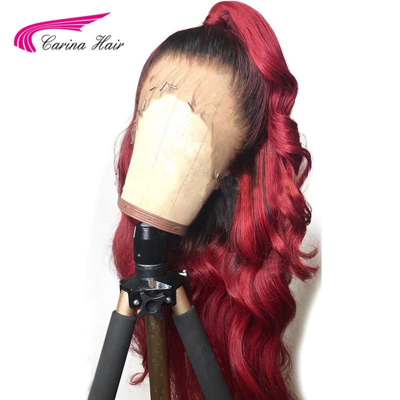 Carina Hair 99j Red Ombre Color Lace Front Human Hair Wigs with Baby Hair Pre Plucked