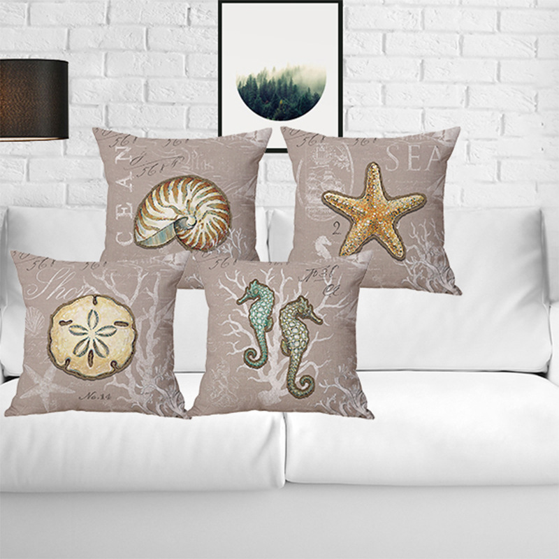 Modern Simple 45cm Cute Sea Animal Starfish Hippocampus Conch Home Office Cotton Linen Square Throw Pillow Case Soft Cover