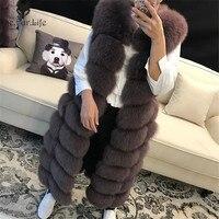 Натуральный Лисий мех жилет 100% натуральный мех лисы Жилет Куртка 2018 Для женщин Довольно Теплый жилет Природный натуральный мех пальто курт