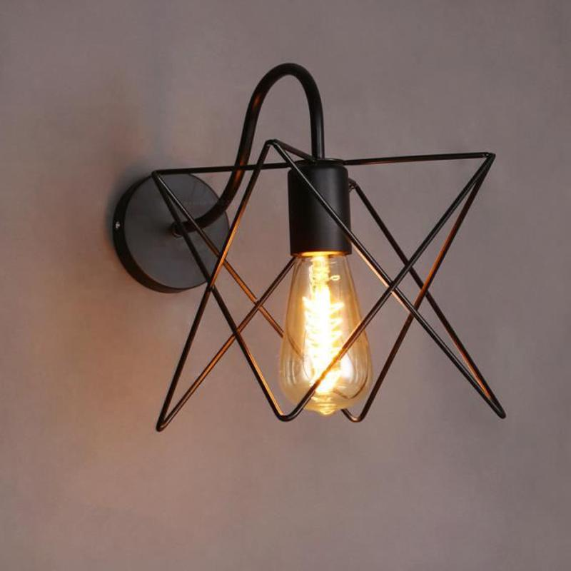Wall lamp cage retro loft corridor stair lamp light bathroom fixture arandela