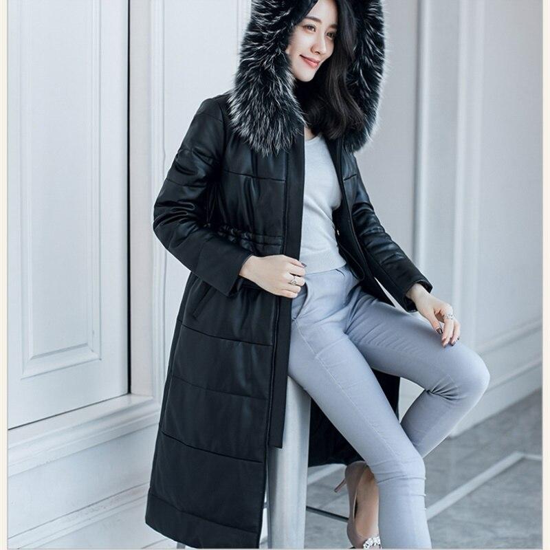 Le Capuchon Bas Femmes Long De Mode D'hiver Manteau As Taille Véritable The 2018 Vers Peau Col Veste En À Picture Lc216 Cuir Grande Fourrure Mouton Chaud pPq7x6wtd