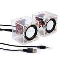 Мини 3 Вт динамик коробка DIY Kit с прозрачной оболочки компьютер аудио электронные компоненты