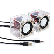 Mini 3W Speaker Box DIY Kit With Transparent Shell Computer Audio Electronic Com