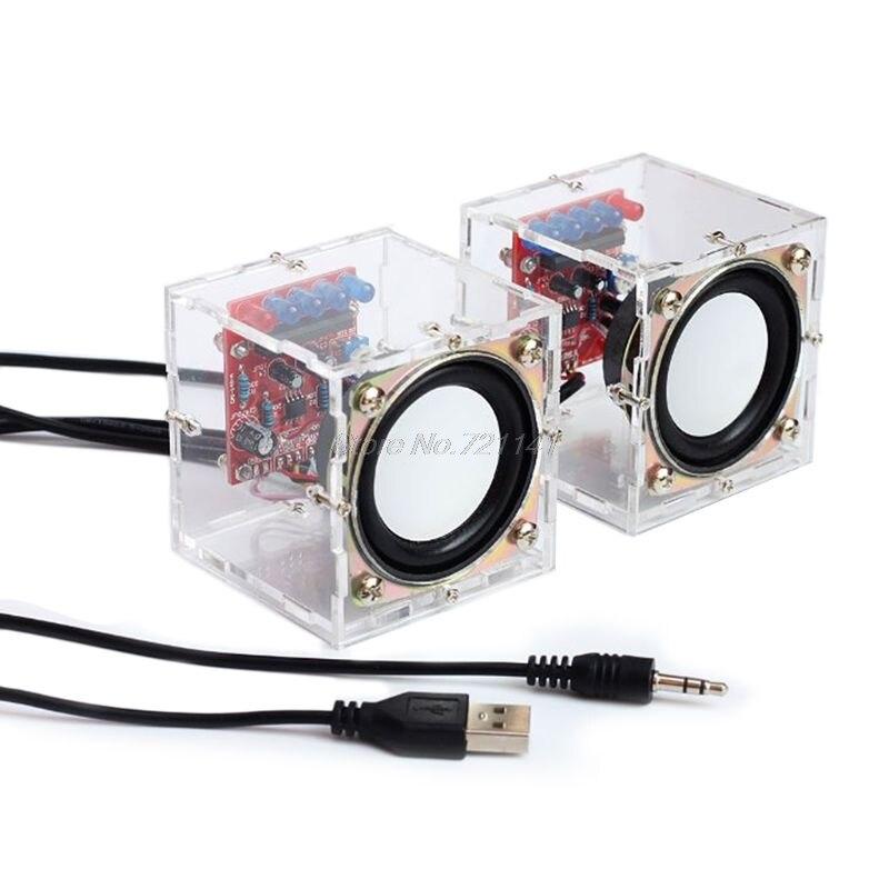 Mini caixa de alto-falante 3 w kit diy com componentes eletrônicos de áudio de computador de casca transparente