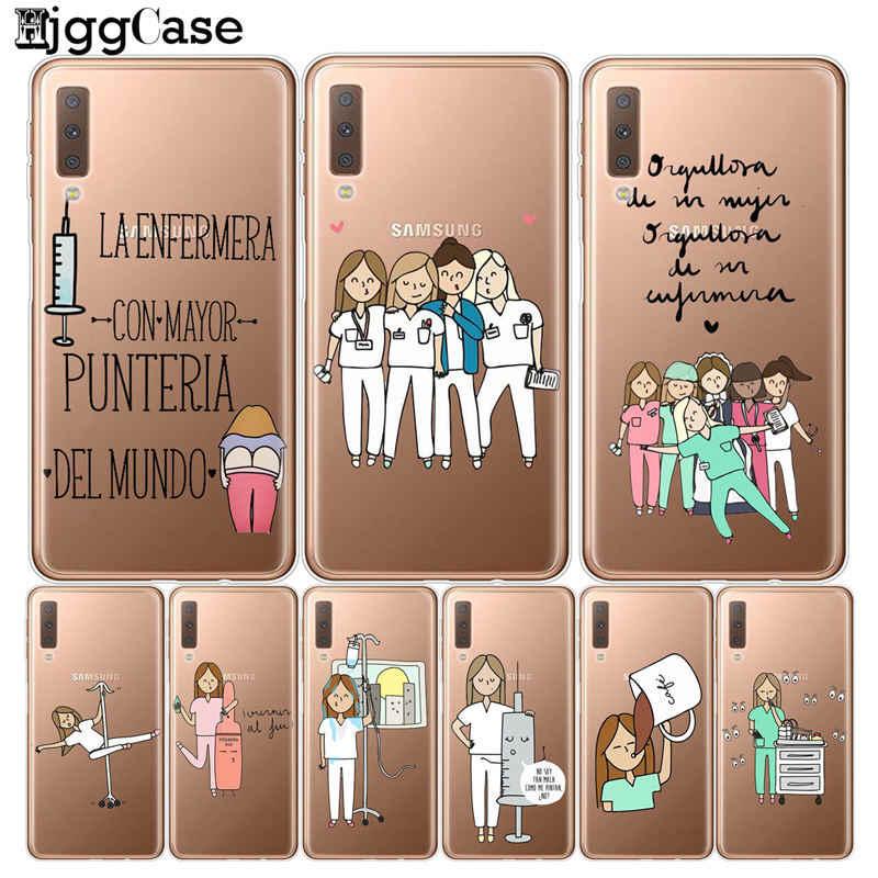 "Spain Cartoon Medicine Doctor Nurse Soft Cover For Samsung Galaxy A7 2018 SM-A750 Case A750 For Samsung A7 2018 6.0"" Phone Cases"