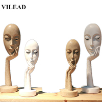 VILEAD 11.2 14.6 Resin Creative Mask Figurines Abstract People Ornament Statue for Vintage Home Decor Home Office Decoration