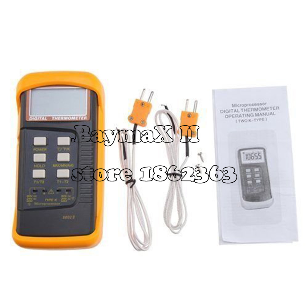 3 1/2 6802 II Dual Channel Digital Thermometer with 2 K-Type Thermocouple Sensor Probe for BGA rework HVAC 1300C/ 2372F