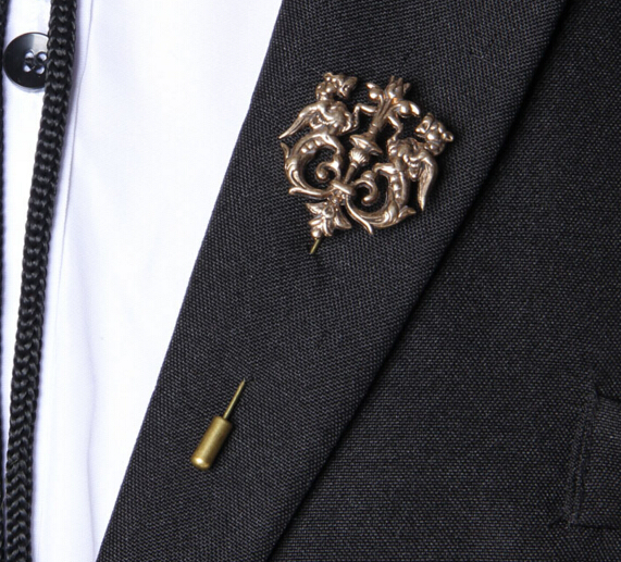 2016 Fashion Wedding Accessory Dragon Theme Collar Brooch Lapel Pin Accessories Bijoux Men Suit