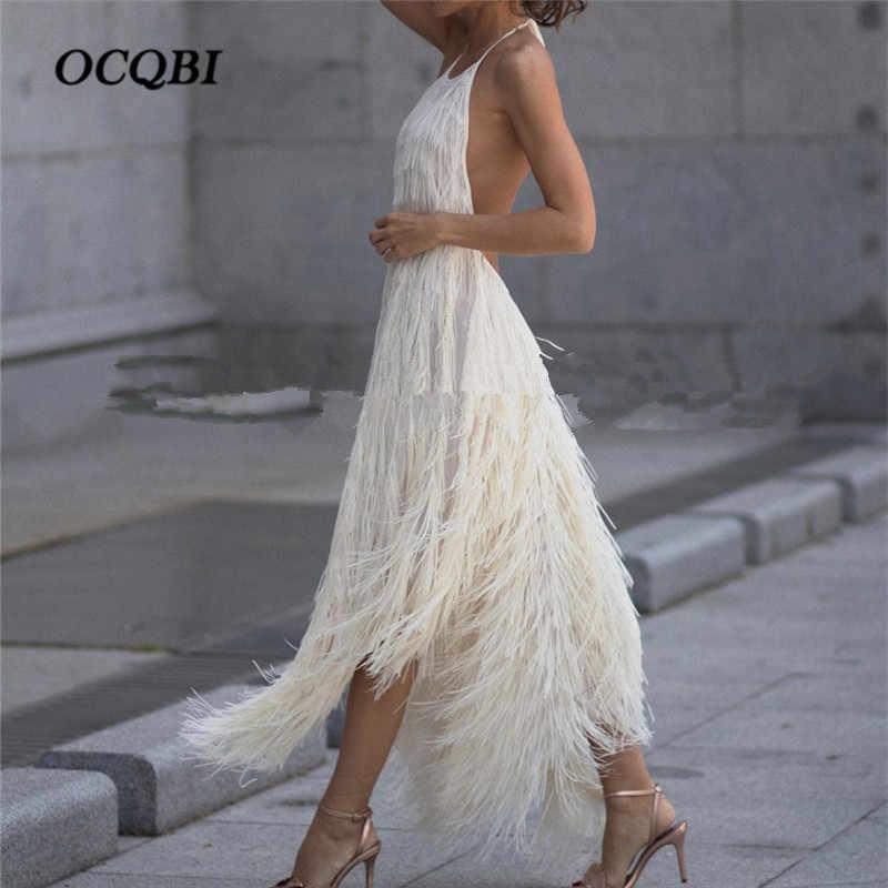 2018 Women Summer Vintage Party Dresses Feathers Elegant Backless Sexy  Vestidos Halter Club Dress d4f2994282e9