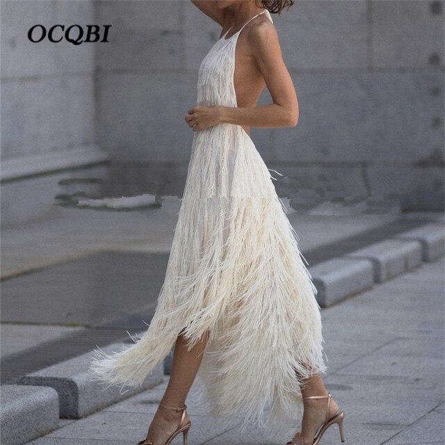 2018 Kobiety Lato W Stylu Vintage Sukienek Pióra Elegancki Backless Sexy Vestidos Halter Klub Sukienka