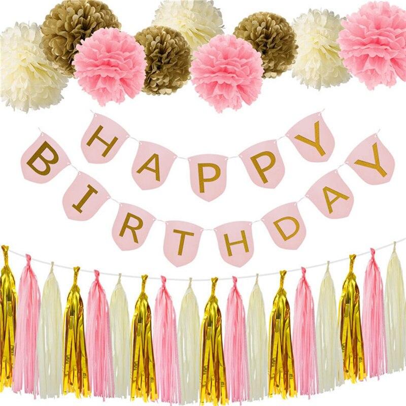 Aliexpress.com : Buy 28 Pcs/set Pink Happy Birthday Banner