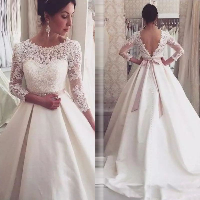 Vintage Lace Ivory Wedding Dress 2019 Sheer Neck Long Sleeves Bridal Gown Button Dubai Arabic Occasion