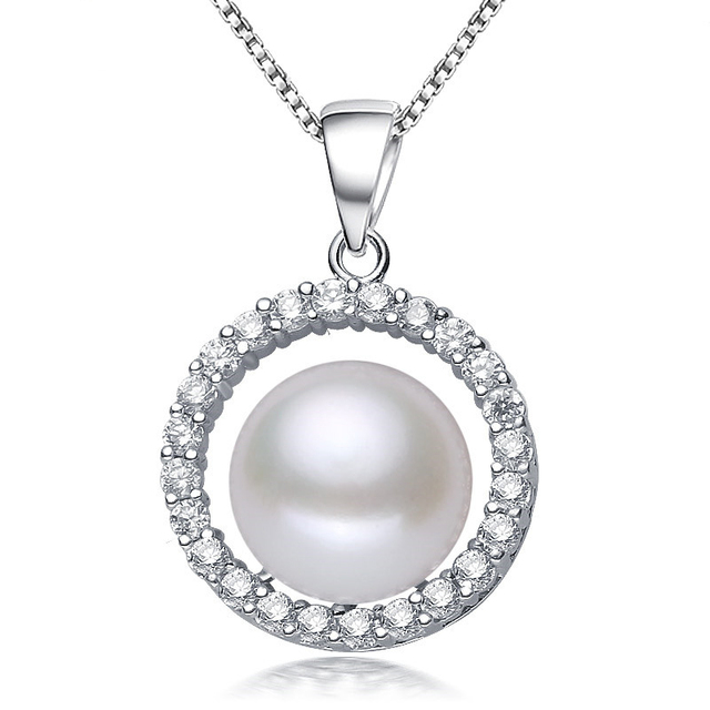 2016 Fashion Pearl Necklace High Quality Natural Freshwater Pearl Pendant AAA Zircon 925 Sterling Silver Jewelry For Women