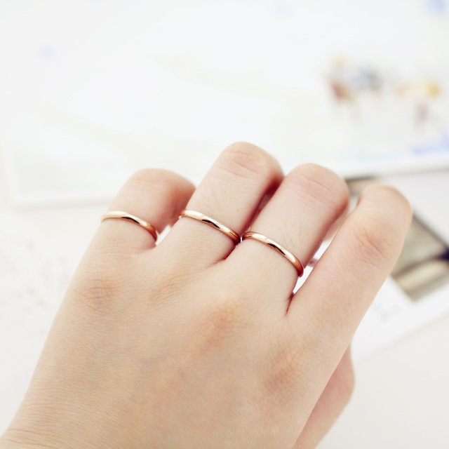 Top Quality Rose Gold Color Anium Steel 1 5mm Depth High Polishing Glossy Women Rings