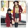 Abrigo de lana de prendas de vestir otoño invierno muchacha de la capa larga del enrejado flojo nueva paternidad abrigos niños clothing 5 colores