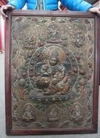 China Thang ga Vaishravana Buddha Wood inlay Copper Board Painted Screen Thangka