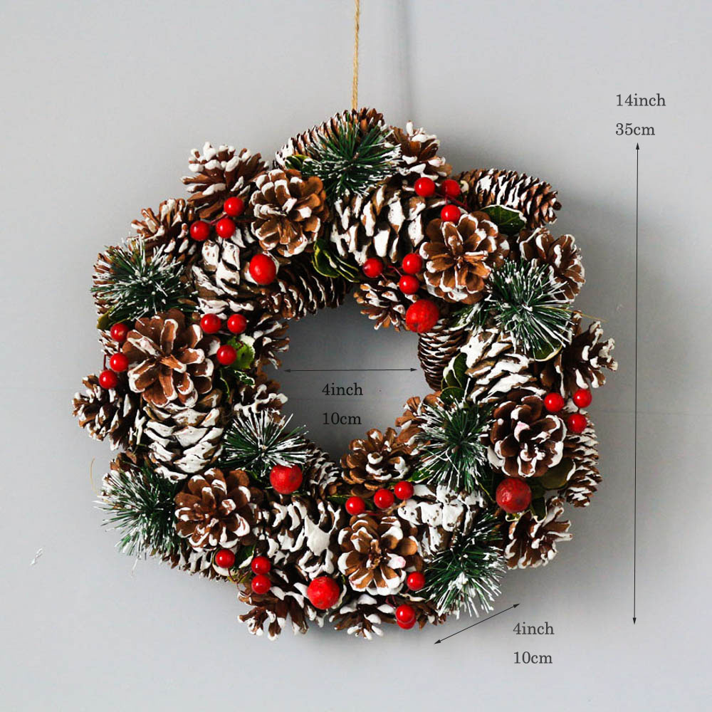 Natural Handmade Xmas Home Decoration Winter Christmas Tree Wreath Door Rustic Natal Festival Party Garland Red Berry Wreaths