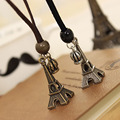 Vintage Copper Silver Plated Antique Eiffel Tower Necklace Crown Leather Chain Pendants Necklace For Women Girl Accessories