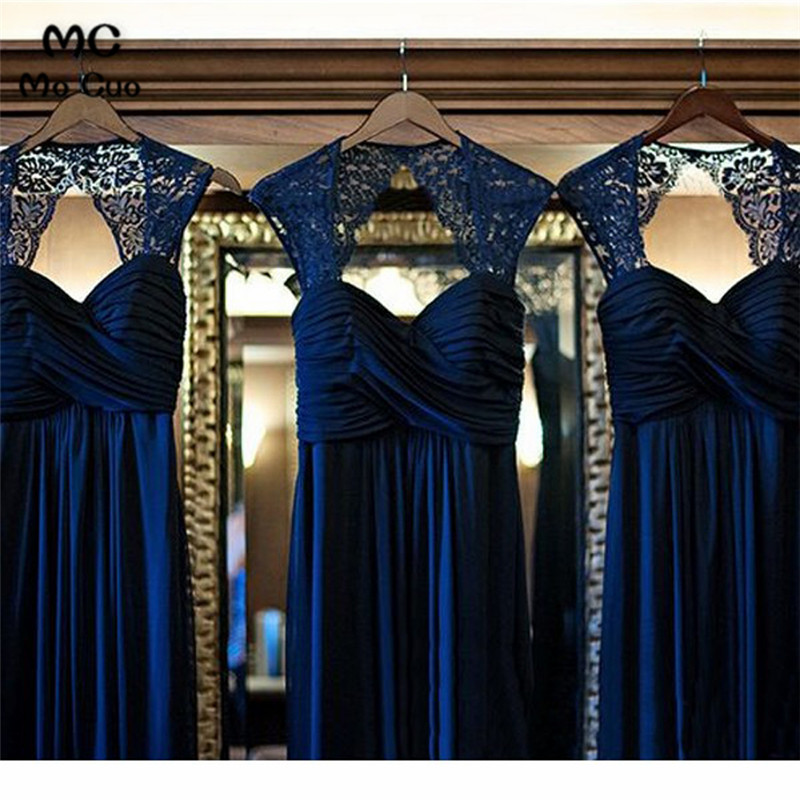 Ready Ship 2019 Navy Blue   Bridesmaid     Dresses   Long Sweetheart Chiffon A-Line Wedding Party   Dress     Bridesmaid     Dress   Custom Made