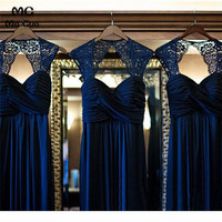 Ready Ship 2019 Navy Blue Bridesmaid Dresses Long Sweetheart Chiffon A Line Wedding Party Dress Bridesmaid Dress Custom Made