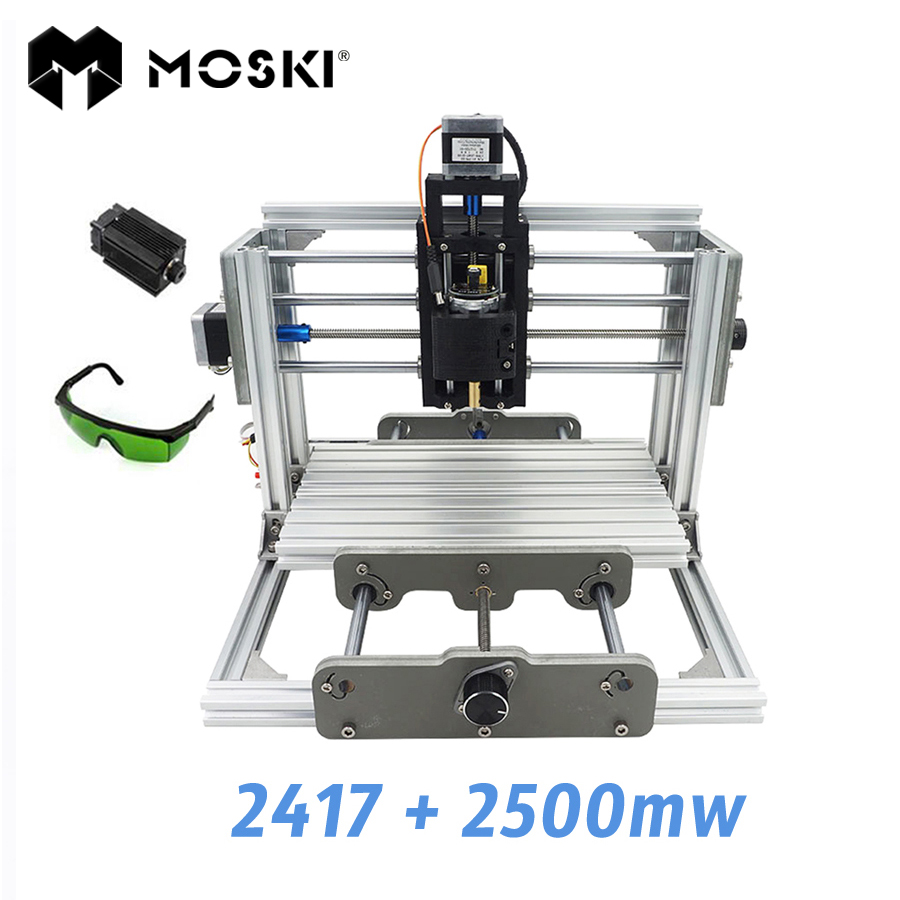 MOSKI ,2417+2500mw,diy engraving machine,mini PcbPvc Milling Machine,Metal Wood Carving machine,2417,grbl control cnc 1610 with er11 diy cnc engraving machine mini pcb milling machine wood carving machine cnc router cnc1610 best toys gifts
