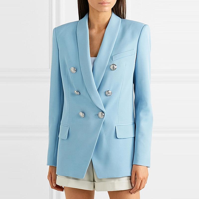 Nieuwe Sky Blue Blazer Jas Vrouwen 2019 Professionele Pak Klassieke Double Breasted Sliver Knop Sjaal Kraag Office Dames Blazer-in Blazers van Dames Kleding op  Groep 1