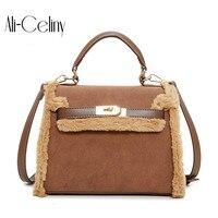 Brand Original Design Fur Imitation Women New Bag Female Printed Handbag Commuter Bag Shoulder Bag Messenger
