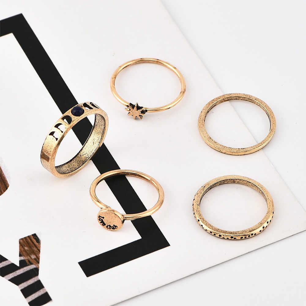 Nowy pierścień popularne mody proste w stylu retro z gwiazdą Awn księżyc litery kobiet pierścień połączenie prosty elegancki gorący bubel biżuteria hurtowych
