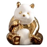 Golden Ceramics Panda Crafts Creative Desktop TV Cabinet Home Bedroom Decoration Animal statue Souvenir Gifts R574