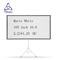 Thinyou 100inch 16:9 tripod Portable projector screen HD Floor stand Bracket Foldable Stand Matt White or home school