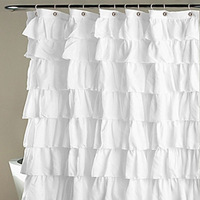 Ruffle Shower Curtain Polyester Fabric Cloth Curtains for Bathroom Bathing 66CY