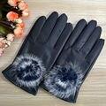 Мода Мяч Меха Кролика Кожаные Перчатки Для Женщин Зимние Перчатки мех внутри леди рукавицы