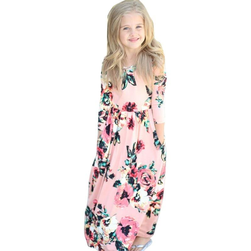 Girls Floral Long Sleeve Printed Long Dress Autumn Maxi Dresses Kids Party Princess Dresses  O Neck 4 Styles