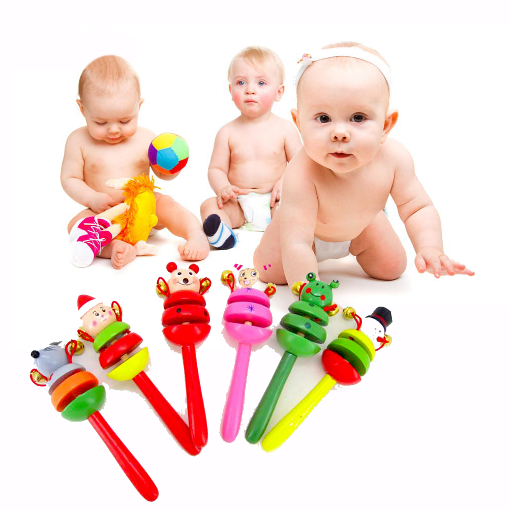 Image 2 - 1pc Baby Toys Rattles Wooden Activity Bell Stick Shaker Baby Toys for Newborns Children Mobiles Rattle Baby Toy Random Color-in Baby Rattles & Mobiles from Toys & Hobbies