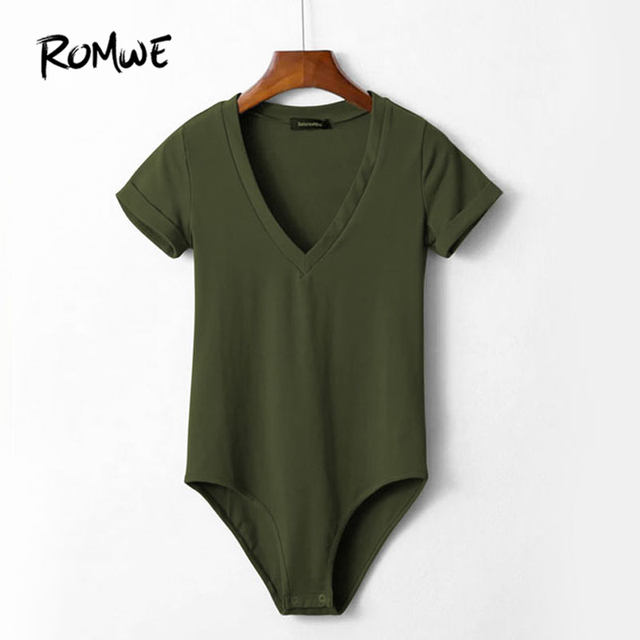 6fc93f6f740d ROMWE Women V Neckline Rolled Cuff Bodysuit Summer 2019 Pure Green Skinny  Woman Tops Short Sleeve Bodysuit