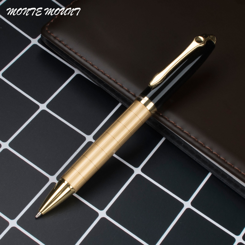 Luksus av høy kvalitet 701 Golden for Gray Cross line Business office Medium Nib Ballpoint Pen Ny