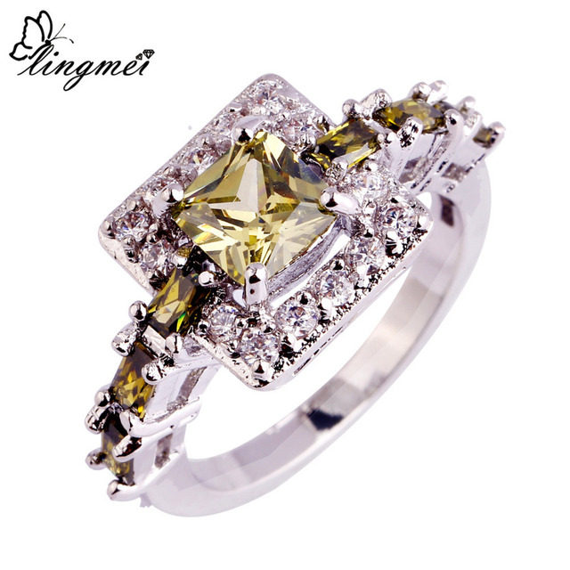 lingmei Jewelry Princess Cut Peridot & White CZ Silver Color Ring Size 6 7 8 9 10 Sweet Women Present Free Shipping Wholesale