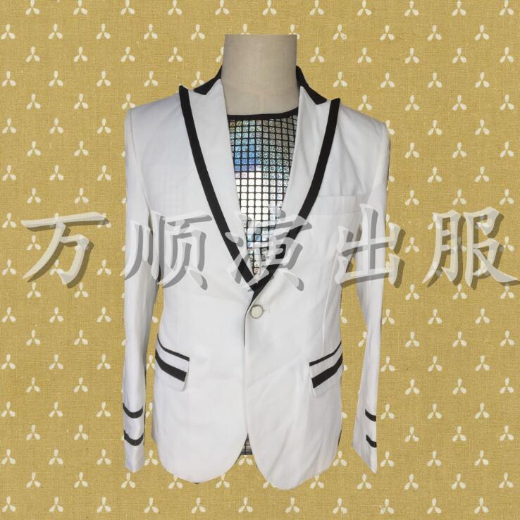 f89d1cbe7 Cantantes Tamaño Danza Trajes Vestido De Grande Estrella Chaqueta Blazer  Ropa Terno Blanca Estilo Blanco Hombres xn0qwF0IC7