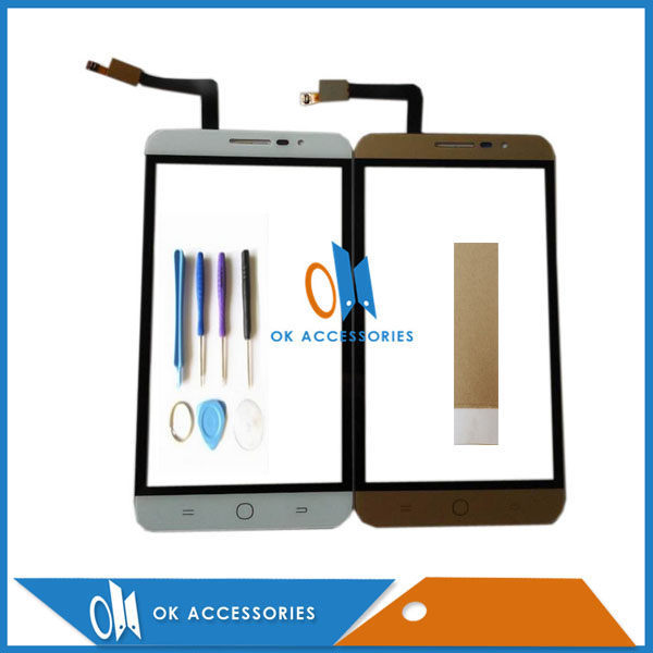 5.5 inch Gold White Color For Coolpad Modena E501 Touch Screen Digitizer Sensor Panel Front Glass With Tools Tape 1PC/Lot