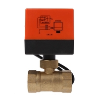 1PC Electric Motorized Brass Ball Valve DN25 AC 220V 2 Way 3 Wire with Actuator