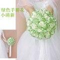 2017 Люкс Для Невесты Свадебный Букет Дешевые Новый Роскошный Кристалл Светло-Зеленый Ручной Искусственный Цветок Розы Свадебные Букеты